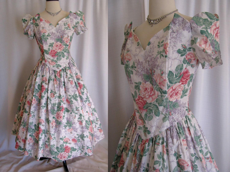 Vintage Gunne Sax Jessica Mcclintock Garden Party Floral Dress