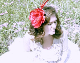 The Sarah Fascinator - Red Over-sized Peony on Turquoise Felted Base - Races - Derby - Couture - Royal Ascot - Accessories - Hats