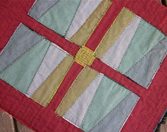 Primitve Modern Red Quilt