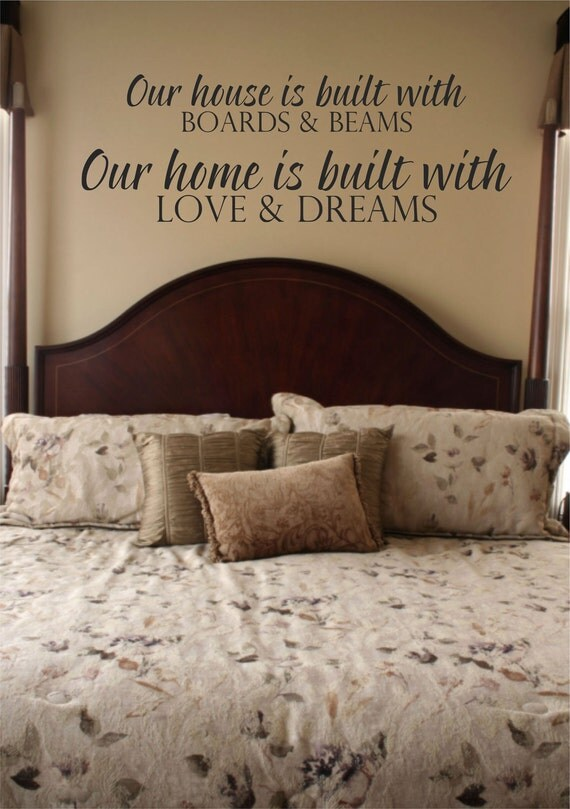 Items similar to vinyl wall decal our house is built for Home construction quotes
