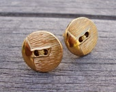 24K Gold Dipped Threaded Button Gold Post Earrings