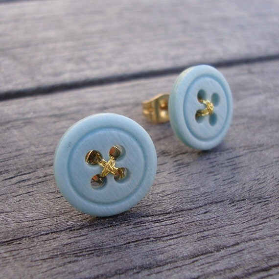 Creamy Blue Threaded Button Gold Post Earrings