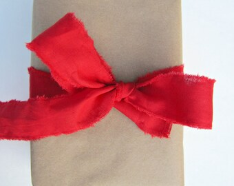 Red Fabric Ribbon for Gift Wrapping this Christmas.