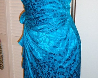 80's 50's Electric blue sarong strapless sweetheart bombshell hourglass dress vlv