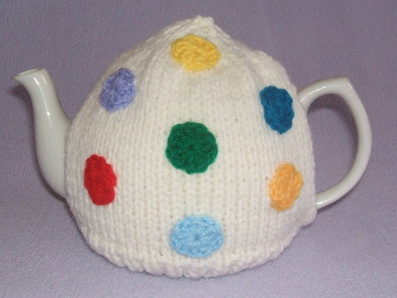 Handmade Knitted, Rainbow Spotted, Tea Cosy/Cozy