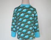 Kids Boys Top Boys Clothing Children Clothing Owl Tshirt Handmade Boys T-shirt Toddler Shirt sz 2T or 4T Farbenmix blue green