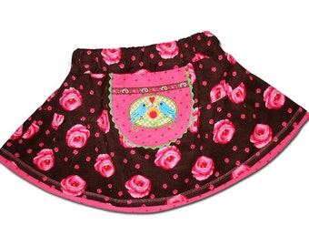 SALE 50% Girls Skirt Roses Flower Boutique Euro Farbenmix 4Y 4T Brown Pink corduroy Fall Winter