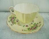 Vintage Shabby Chic Lemon Chiffon Yellow Tea Cup and Saucer