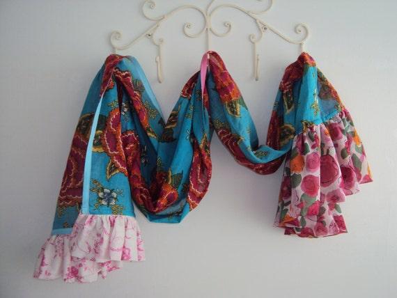 XL Floral Summer Scarf / Ruffled Shawl / Floral Shawl / Fuchsia Shawl / XL Scarf / Summer Shawl / Art Shawl / OOAK Textile Art Shawl
