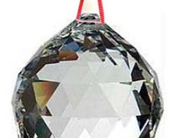 One 20mm Feng Shui Faceted Crystal Prism Ball on Red Cord Reiki Wicca Space Clearing Glass Light Catcher