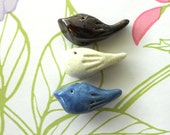 Handmade Ceramic  Set of Three Bird Beads Blue Bronze Ivory