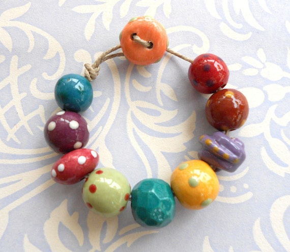 Handmade Ceramic Beads Set in Rich Winter Colours