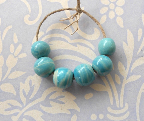 Handmade Ceramic Spacer Beads in Marbled Turquoise