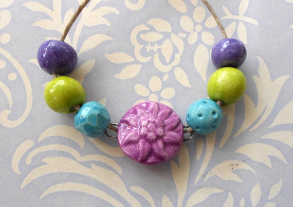 RSERVED FOR JEWELSBYKAT Handmade Ceramic Beads Set with Sunflower Connector in Jewel Colours