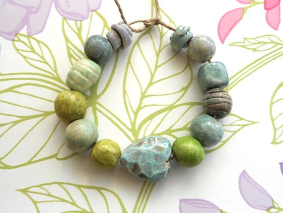 Handmade Ceramic Beads with Faceted Heart in Earthy Moss and Slate Blues