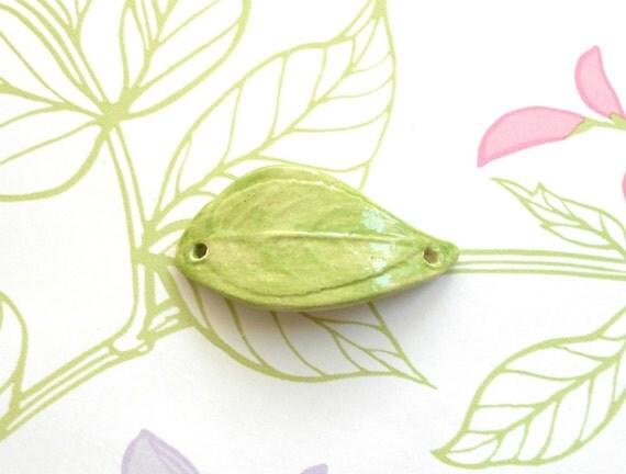 Handmade Ceramic Curved Leaf  Bracelet Bar in Pale Grassy Green