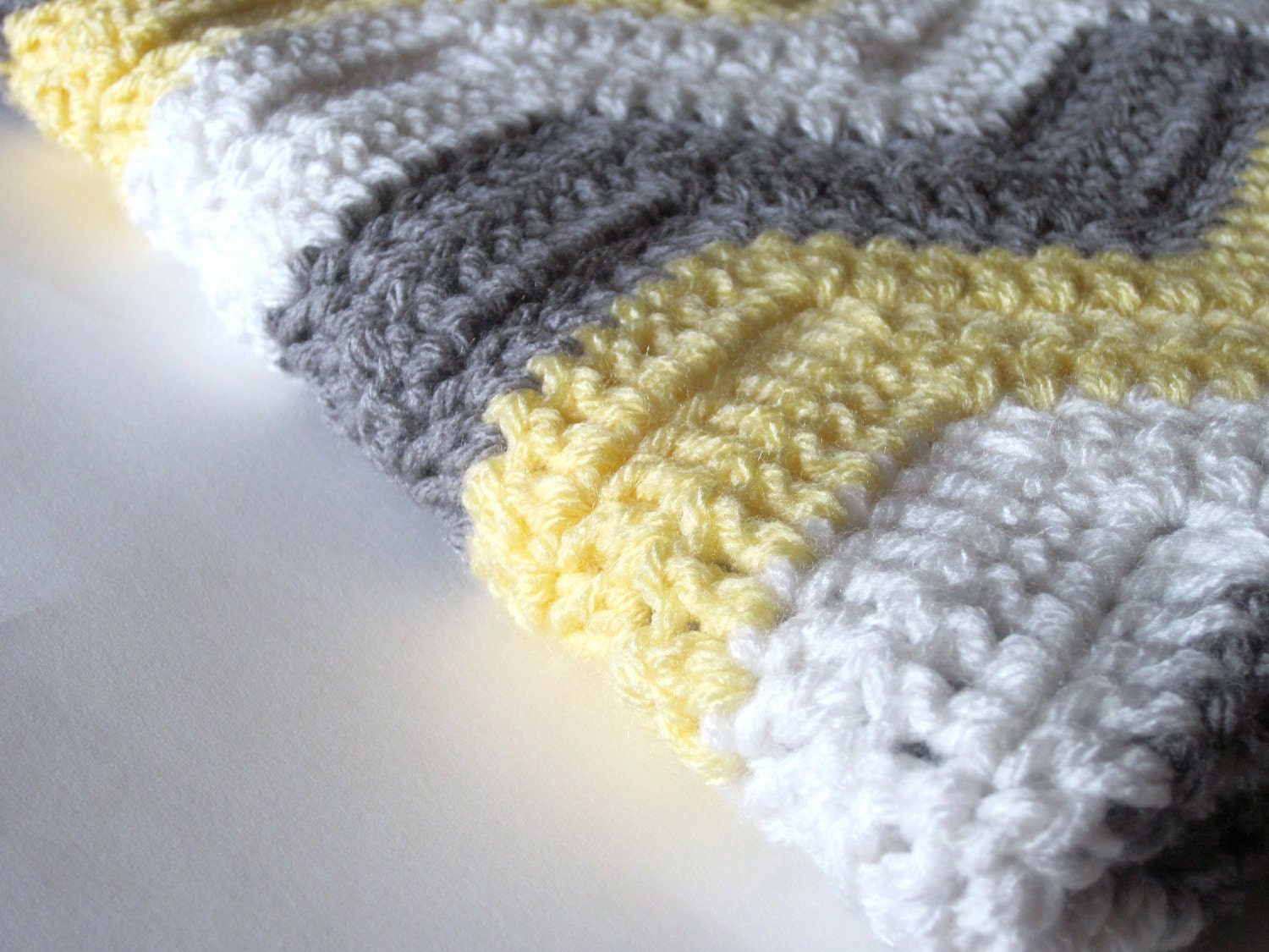 Crochet Patterns Ripple Blanket : Crochet Baby Blanket Chevron Ripple Yellow by KaleidoscopeStitches