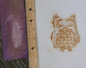 Small Rust Owl and Feather Fabric Fragment Pack