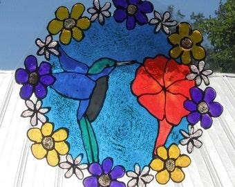 Stain Glass Circle of flowers Hummingbird Window Cling Art