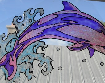 Stain Glass Pink Dolphin  Cling Art Made to Order