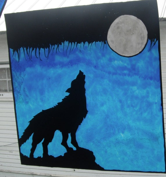 Wolf Stain Glass Window Cling Art Each One Is By Smorgane2u