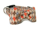 Argyle Dog Collar and Bowtie Set - OSCAR in Available in All Sizes - Smart Argyle for your Dapper Pup