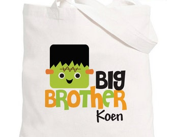 Trick-or-Treat Halloween Bag - Personalized Frankenstein Big Brother Tote Bag - Halloween Candy Bag