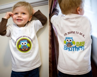 Owl Big Brother Shirt - I'm Going To Be A Big Brother Owl Shirt - Secret Pregnancy Announcement