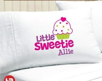 Little Sweetie Polka Dot Cupcake Pillowcase -  Girls Personalized Pillowcase