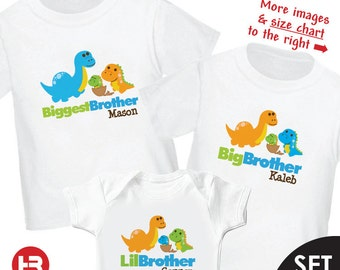 Dinosaur Biggest Brother Shirt, Dinosaur Big Brother Shirt & Dinosaur Little Brother Bodysuit or Shirt - 3 Personalized Sibling Shirt