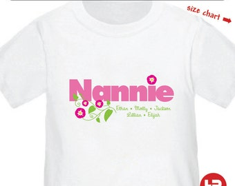 Flower Nannie Shirt - Personalized Nannie Shirt with grandkids names - Mother's Day Gift - Nannie Christmas Gift - Nannie Birthday Gift