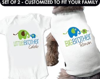 Elephant Big Brother Dog Shirt & Elephant Little Brother Shirt - 2 Personalized Sibling Shirts
