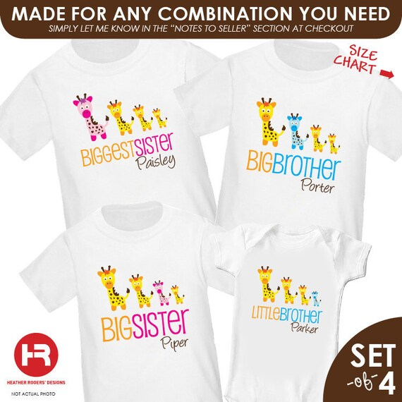 Giraffe Biggest Sister Shirt, Giraffe Big Brother Shirt, Giraffe Big Sister Shirt & Giraffe Little Brother - 4 personalized sibling shirts