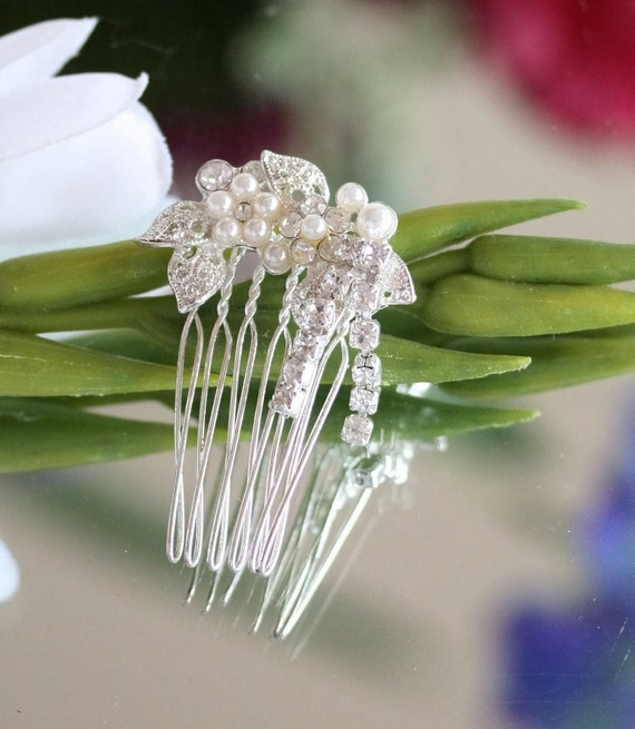 Hair Comb, Flower Girl, Bride, Rhinestone Hair Clip,  Wedding Hair Comb, Vintage, silver, rhinestone,