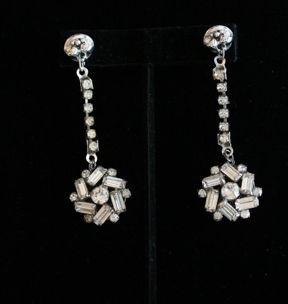 Bridal Earrings, Rhinestone Chandelier Wedding, Jewelry, Vintage, Silver, antique, bride, bridesmaids