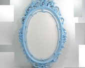 Vintage Oval Ornate Light Blue Wall Frame