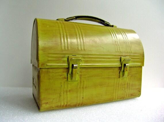 Vintage Metal Lunch Pail Storage Tool Box