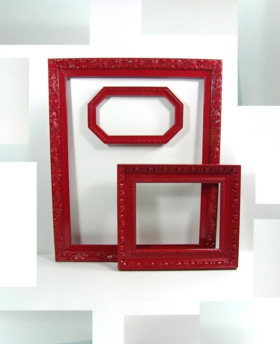 Lot of Vintage Red Frames Wall Gallery Art