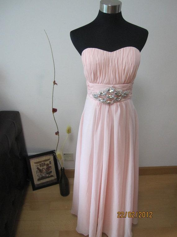 Softly Pink Strapless Silk Chiffon Dress