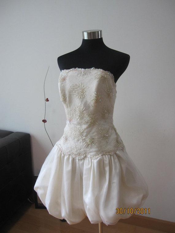Tea-length Bubble Hem Wedding Dress