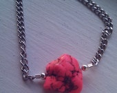 Neon Pink Turquoise Chunk Chain Bracelet