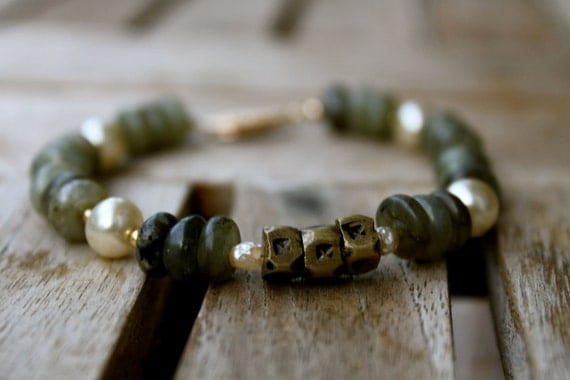 African Brass, Labradorite, Glass Pearl, and 14K Gold-filled Bracelet