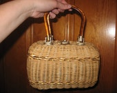 Vintage Midcentury 1950s Wicker Gold Weave Purse with Lucite Handles