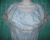 Vintage Baby Blue Mexican Peasant Ruffle Lace Dress Plus Size