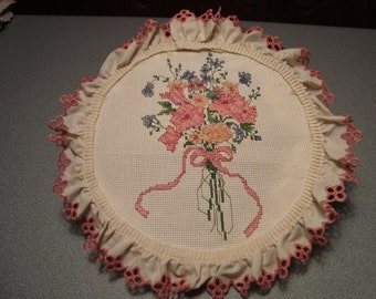 "Completed Cross Stitch Sampler ""Floral Pastels II"" - Stoney Creek Collection"