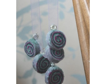 "Hand Made Felted Bead Necklace ""Ethereal Glitter"" Felt Jewellry Gift use LOVE10 to get 10% off"
