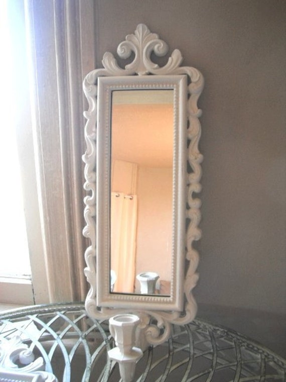RESERVED Ornate mirror, white mirror, candle sconce, wall decor, vintage upcycled, mirror decor, white decor, shabby chic, ornate country