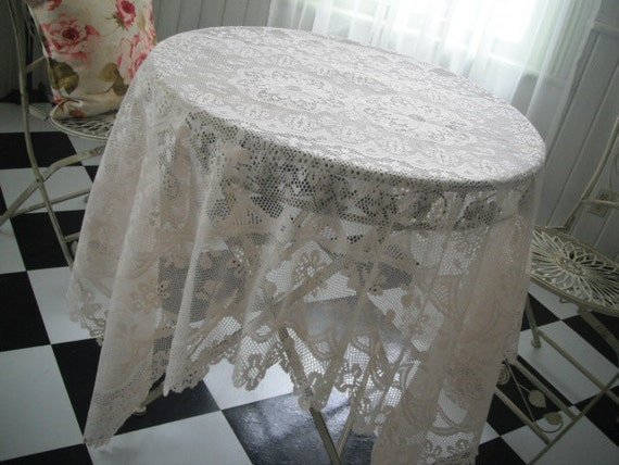 Lace tablecloth,  tea stained tablecloth, shabby chic, rectangular cloth, French country, cottage decor