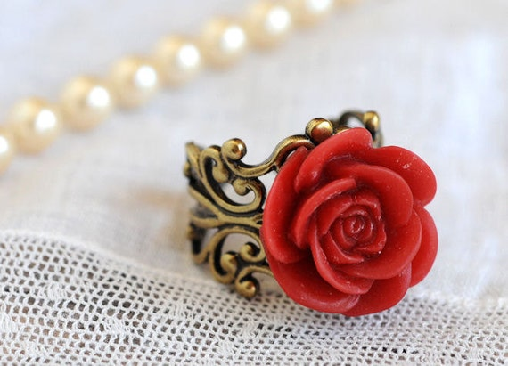 Red Rose Ring Red Jewelry Bridesmaid Gift Red Wine Victorian Beauty