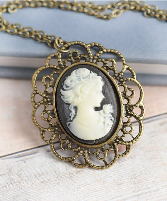 Cameo, Cameo Necklace, Jewelry, Gift, Victorian, Black Cameo, Pendant